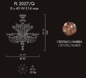 Chandelier 8 light Reale amber color