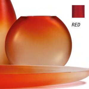 Occulto Round Flat Vase Red